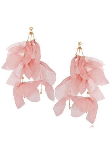 Kolczyki jedwabne kwiaty różowe KBL0706
