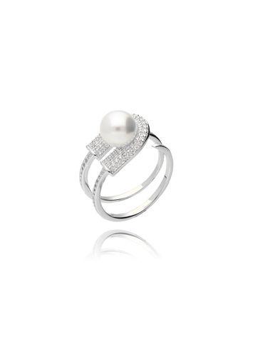 Pierścionek srebrny z cyrkoniami i perłą PPE0002