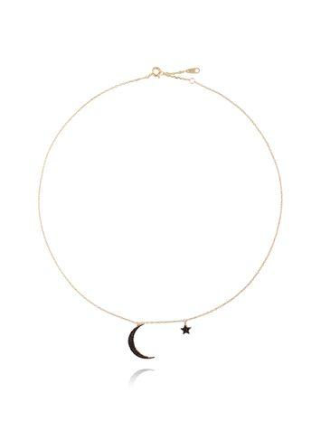 Naszyjnik pozłacany z czarnymi cyrkoniami - księżyc z gwiazdką NFA0033
