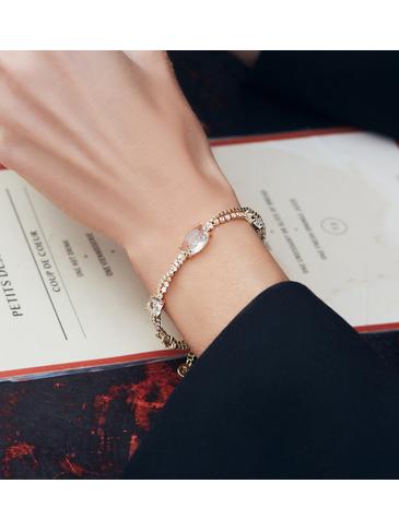 Bransoletka złota z transparentnymi kryształkami BSS0022