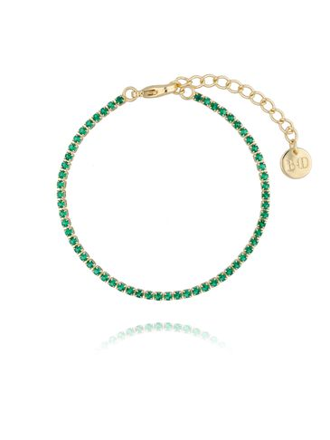 Bransoletka złota z zielonymi cyrkoniami BMU0013