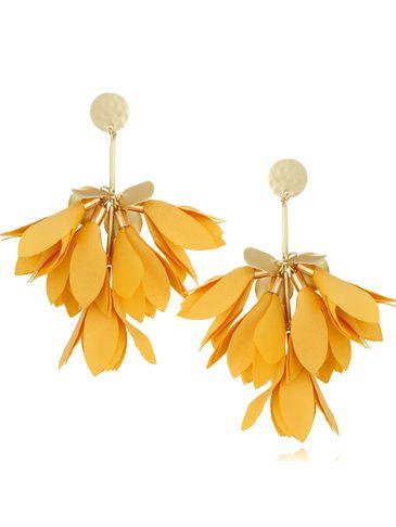 Kolczyki satynowe kwiaty żywy żółty KBL0504