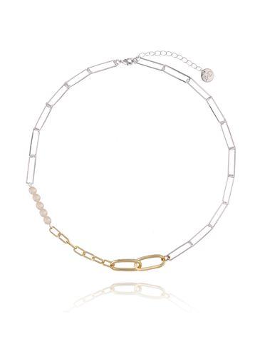 Naszyjnik złoto srebrny łańcuch z perłami NSL0029