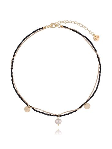 Naszyjnik z onyksami i perłą NTW0073 36 cm