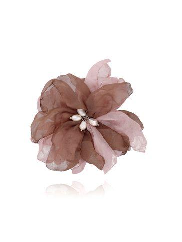 Broszka / spinka kwiat z perełkami brązowa BRBL0019