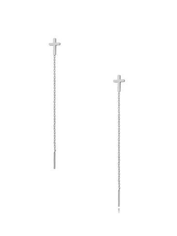 Kolczyki srebrne wiszące Long Cross KSA0298
