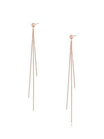 Kolczyki łańcuszkowe w kolorze różowego złota Music Night KRG0724