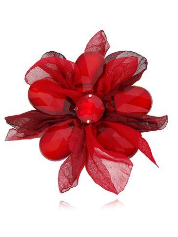 Broszka kwiat z kryształami czerwona BRBL0014