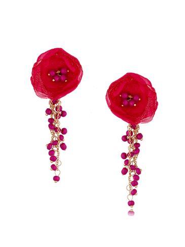 Kolczyki satynowe kwiaty z koralikami Blossom Fuchsia Mallow KBL0882