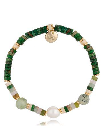 Bransoletka zielona z perłą Palm BPA0094
