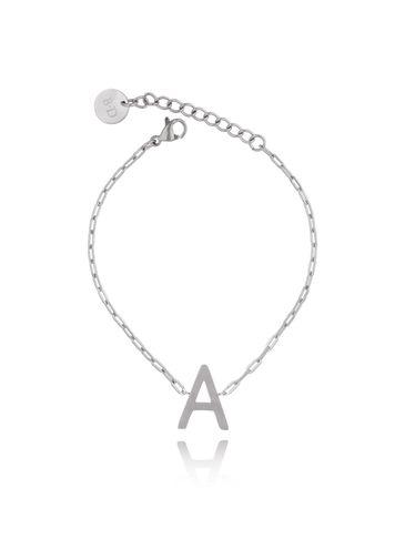 Bransoletka srebrna z literką A BAT0088