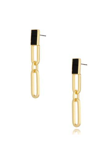 Kolczyki długie złote spinacze Black Vibes KRG0716