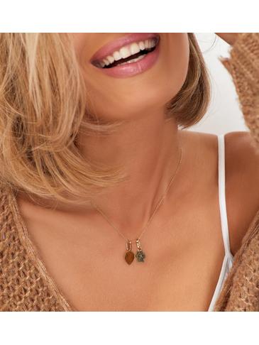 Naszyjnik złoty z łapką i sercem ze stali szlachetnej NPS0006