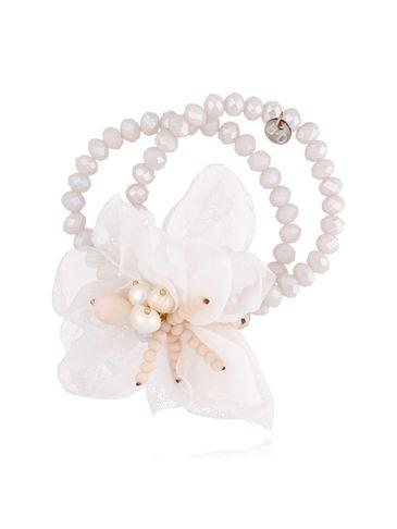 Bransoletka z kryształkami i  białym kwiatem  BBL0125