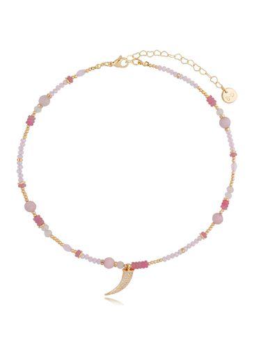 Naszyjnik z różowymi kwarcami oraz zawieszką Pareo NPA0395