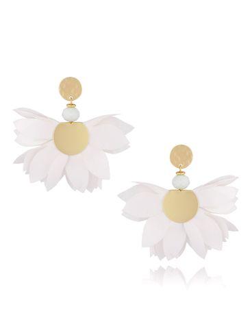 Kolczyki satynowe kwiaty białe KBL0438