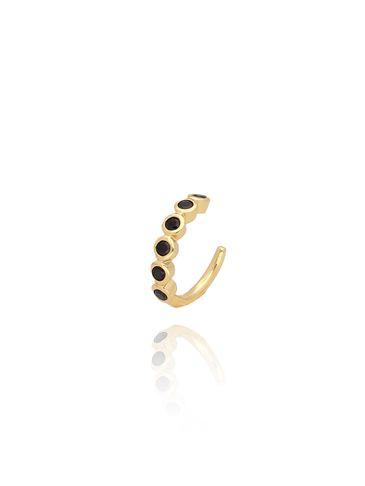 Nausznica złota z czarnymi cyrkoniami KCO0022