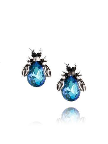 Kolczyki srebrne żuki z niebieskimi kryształkami KMI0080