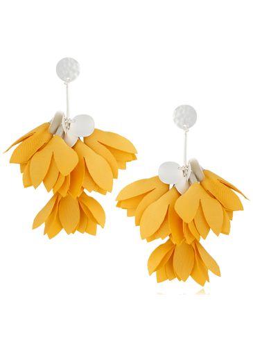 Kolczyki satynowe kwiaty żywy żółty KBL0505
