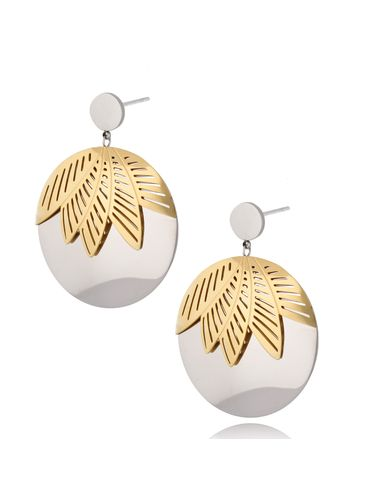 Kolczyki srebrno-złote ze stali szlachetnej Silver&Gold Big Leaf KSA0279