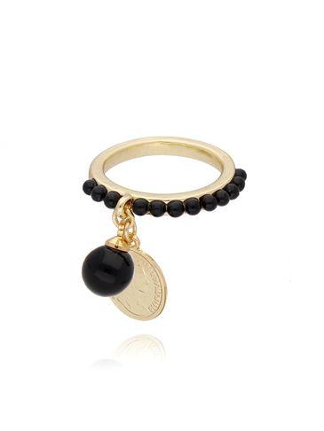 Pierścionek ze złotą monetką i czarnymi kryształkami PRG0140 rozmiar 11