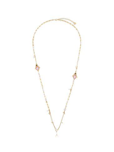 Naszyjnik z perłami i brzoskwiniowymi owadami NMI0094