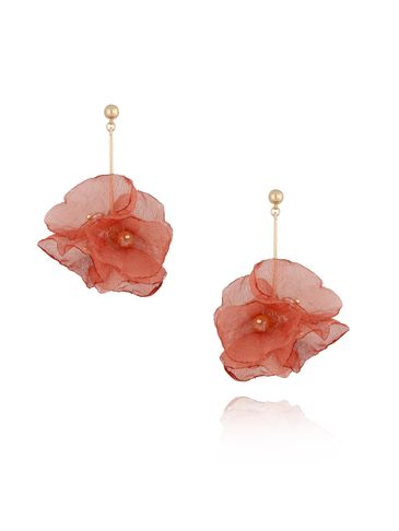 Kolczyki kwiaty jedwabne czerwono różowe  KBL0365