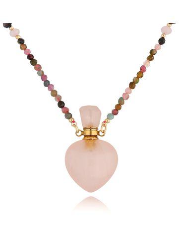Naszyjnik perfumetka długa z kwarcem różowym NPA0200
