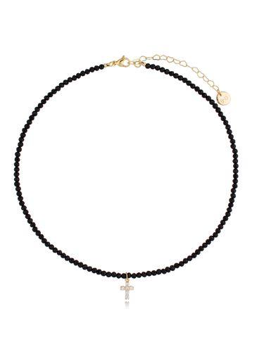 Naszyjnik czarny z agatami i zawieszką krzyżyk zdobiony cyrkoniami NTW0186