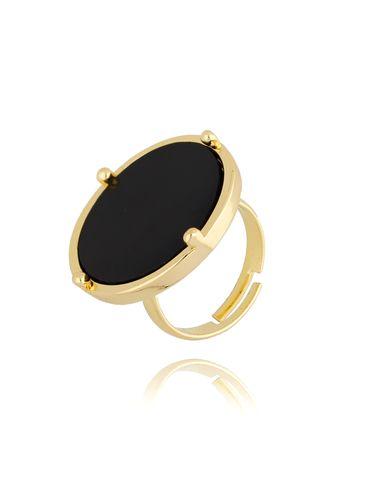 Pierścionek złoty z czarnym oczkiem PTO0006