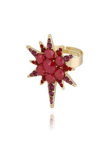 Pierścionek złoty z czerwoną gwiazdą PU0009