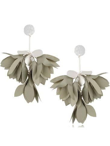 Kolczyki satynowe kwiaty szaro zielone KBL0509