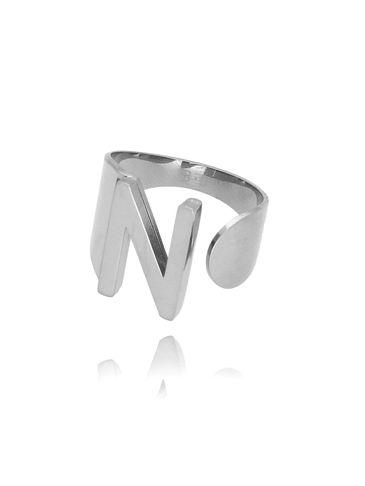 Pierścionek srebrny ze stali szlachetnej z literką N PSA0075
