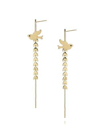 Kolczyki złote długie liście z gołębiem KNE0002