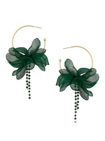 Kolczyki jedwabne kwiaty zielone KBL0417