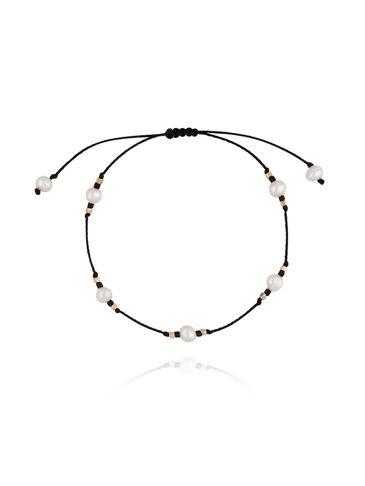 Bransoletka czarna  z perłami i sznurkiem BTW0270