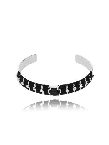 Bransoletka srebrna obręcz z koralikiem i czarną nicią BNE0006