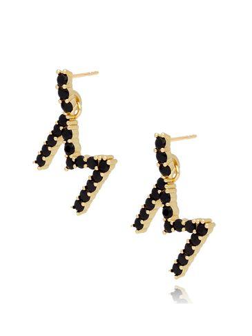 Kolczyki złote z kryształkami literka M KRG0599