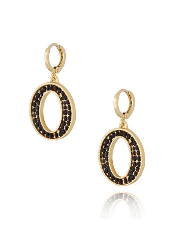 Kolczyki złote z kryształkami literka O KRG0614
