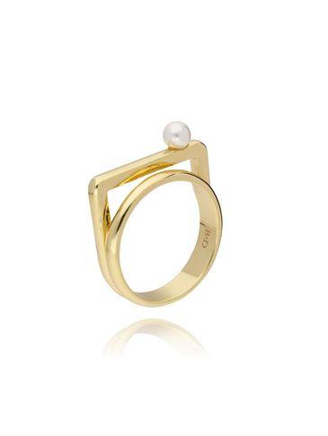 Pierścionek złoty z perłą PPE0027