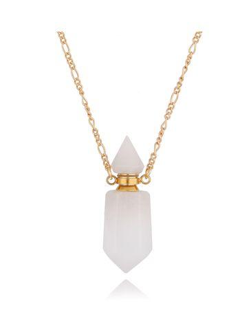 Naszyjnik perfumetka z białym jadeitem NPA0022