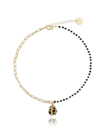 Naszyjnik z czarnymi kryształkami  i łańcuchem NRG0127
