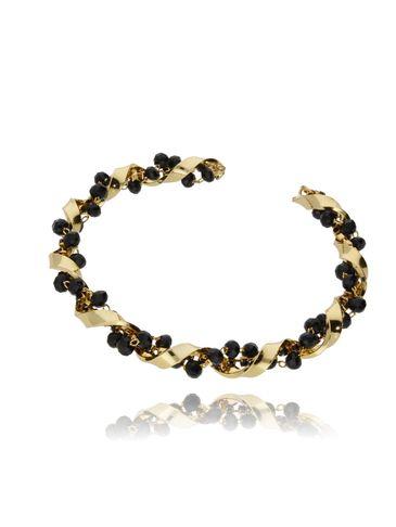 Bransoletka złota obręcz z czarnymi kryształkami BSS0015