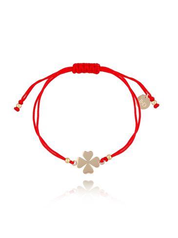 Bransoletka na czerwonym sznurku z koniczynką BGL0455
