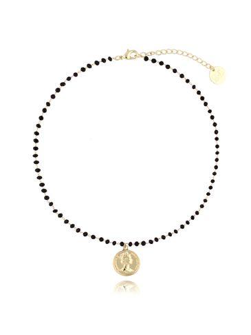 Naszyjnik z łańcuszkiem z czarnymi kryształkami i złotą monetą NRG0122