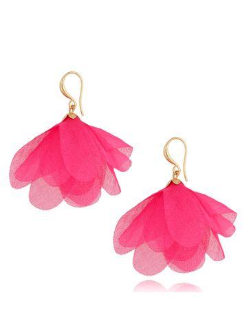 Kolczyki jedwabne kwiaty neonowe różowe KBL0856