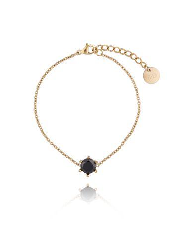Bransoletka złota z kryształkiem ze stali szlachetnej BSA0098