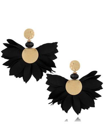 Kolczyki satynowe kwiaty czarne KBL0538
