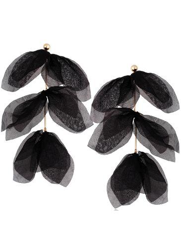 Kolczyki jedwabne kwiaty czarne  KBL0694