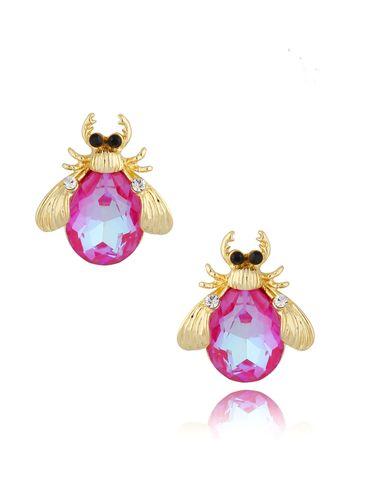 Kolczyki złote z kryształowymi chrabąszczami Pink&Shine May KMI0183